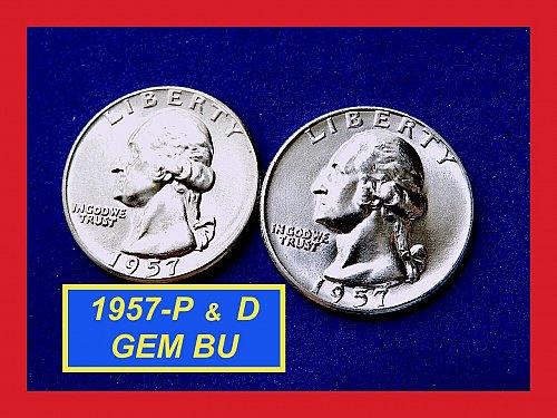 """2-Coin Year-Set ✬ 1957-P & 1957-D Quarters ✬ """"UNC"""" ✬(#2782)a"""