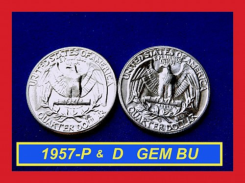 "2-Coin Year-Set ✬ 1957-P & 1957-D Quarters ✬ ""UNC"" ✬ (#2782)a"