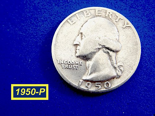 """1950-P Quarter ☆  """"Circulated"""" ☆ (#2011.0)a"""