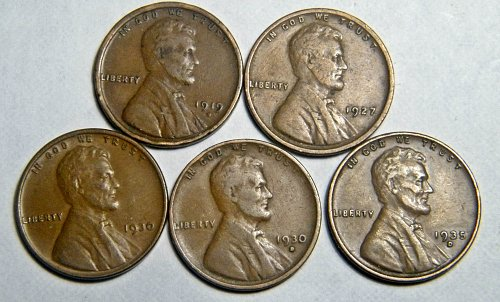 Wheat cent  LOT 1919 D 1927 1930 1930 D 1935 D ADDITIONAL COINS SHIP FREE