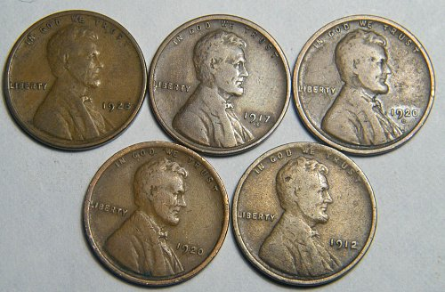 Wheat cent  LOT 1920 D 1917 S 1928 1912 1920 ADDITIONAL COINS SHIP FREE