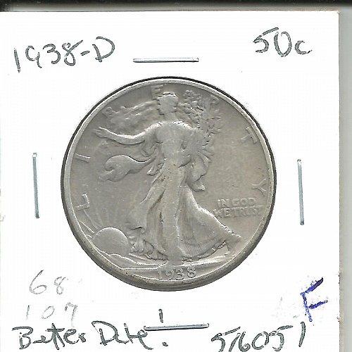 1938 D  WALKER HALF DOLLAR