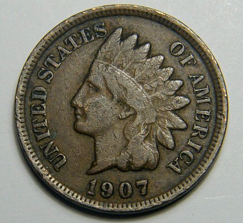 1907 P Indian Head Cent 218263  B7