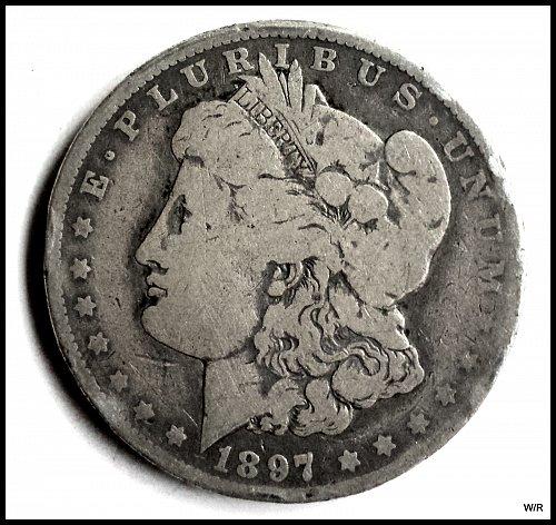 1897 P Early Morgan Silver Dollar: