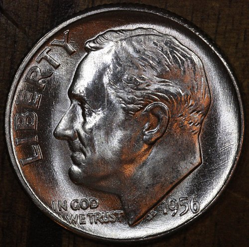 1956 P Choice BU Roosevelt Dime from OBW Roll, Blazing White Luster!!