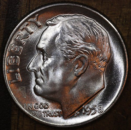1958 P Choice BU Roosevelt Dime from OBW Roll, Blazing White Luster!!