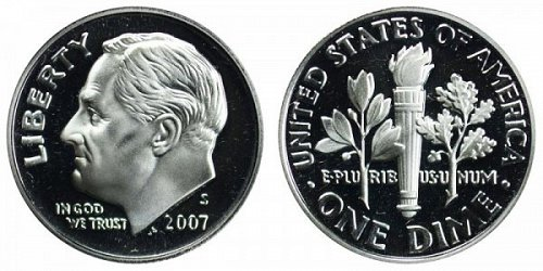 2007 S Roosevelt: DC Proof Silver Dime