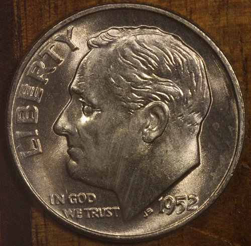 1952 D Choice BU Roosevelt Dime from OBW Roll, Blazing White Luster!!