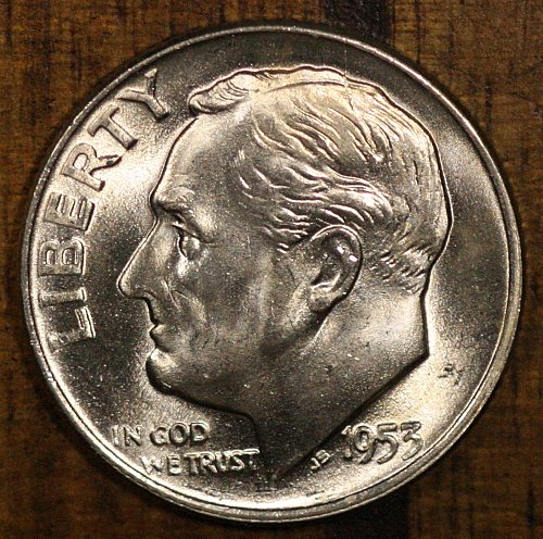 1953 D Choice BU Roosevelt Dime from OBW Roll, Blazing White Luster!!