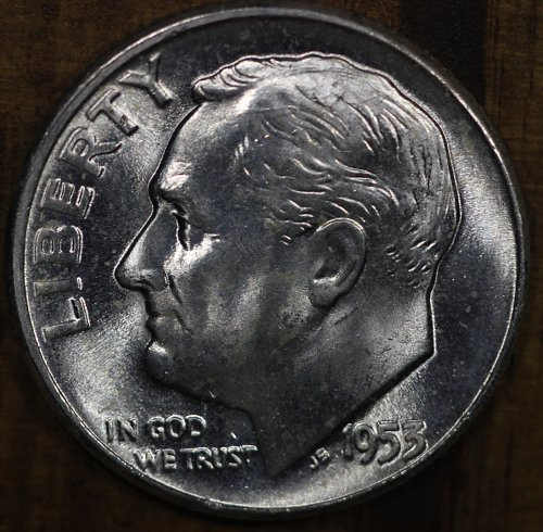 1953 P Choice BU Roosevelt Dime from OBW Roll, Blazing White Luster!!