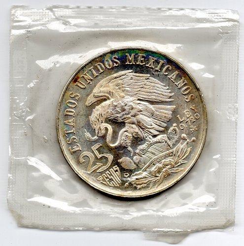 1968 Mexican Silver 25 Pesos Mexico City Olympics Silver Coin  72% Fine Silver