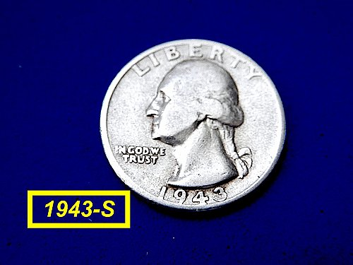 "1943-S SILVER QUATER ☆ ""Circulated"" ☆  (#2028)b"
