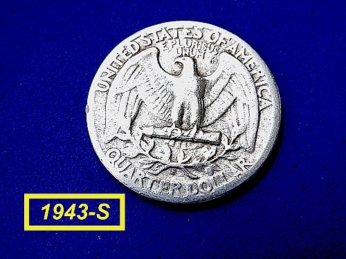 """1943-S SILVER QUATER ☆ """"Circulated"""" ☆  (#2028)b"""