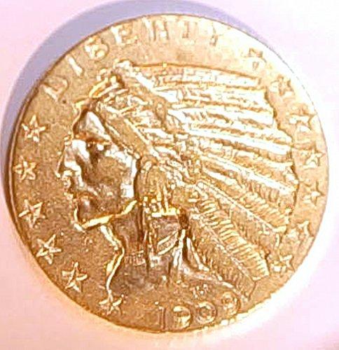 1909 D Indian Head Gold $5 Half Eagle AU