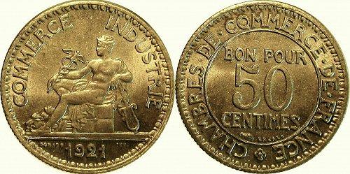 France Chambre de commerce 50 Centimes 1921     0137