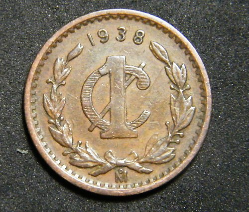 Mexico one cent 1938