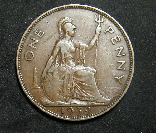 1939 ONE  penny Great Britain