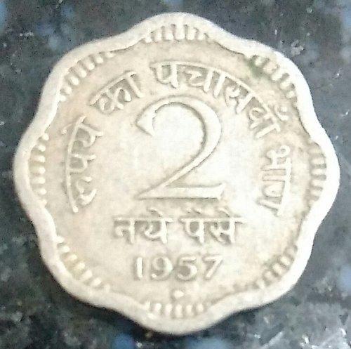1957....India circulated  2 paisa..coin