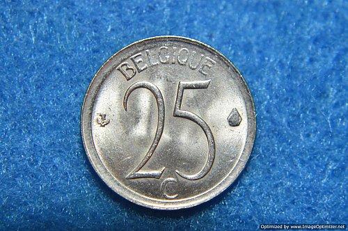 BELGIUM 1964 25 CENTIMES 1.7G COPPER/NICKEL