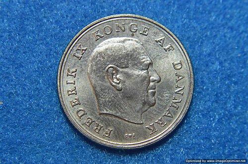 DENMARK 1963 1 KRONE 6.8G COPPER/STEEL