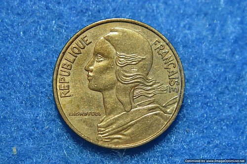 FRANCE 1974 5 CENTIMES 2G ALUMINUM/BRONZE