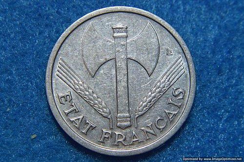 FRANCE 1943 1 FRANC 1.5G ALUMINUM