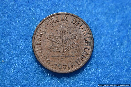 GERMANY FEDERATED REPUBLIC 1970F 1 PFENNIG 2G COPPER/STEEL