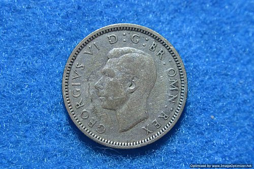 GREAT BRITAIN 1938 SIX PENCE 2.8276G .5 SILVER