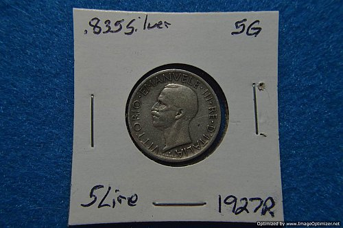 ITALY 1927R 5 LIRE 5G .835 SILVER