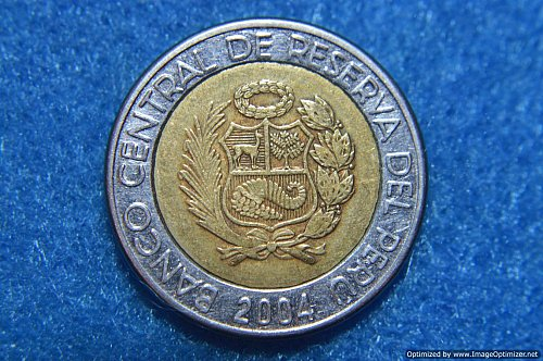 PERU 2004 2 NUEVOS SOLES 5.62G BI-METAL