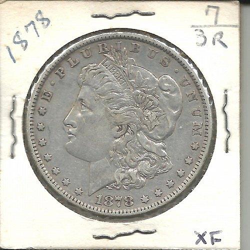 1878   MORGAN DOLLAR    SLANTED  ARROW FEATHER