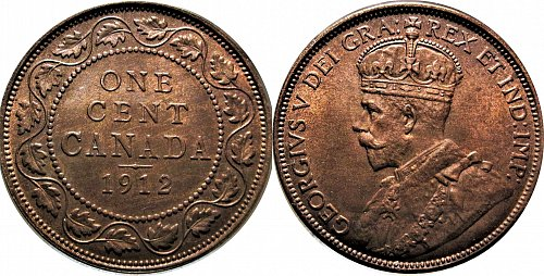 Canada 1912 1 Cent (Large Cent)         0147