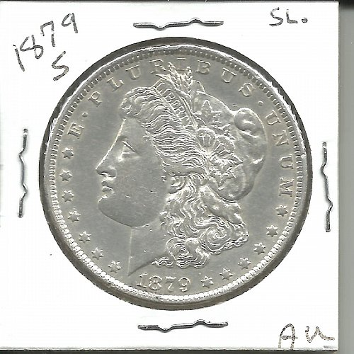 1879  S   MORGAN DOLLAR   SLANTED ARROW FEATHER