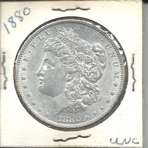 1880  P   MORGAN DOLLAR   SLANTED ARROW FEATHER