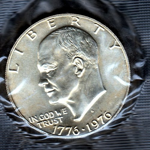 1976 S Eisenhower Dollars: 40% Silver - Type 1 - Low Relief - Bold Lettering