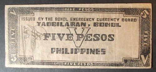 Philippines S136d 5 Pesos Fine