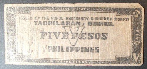 Philippines S136d 5 Pesos VG