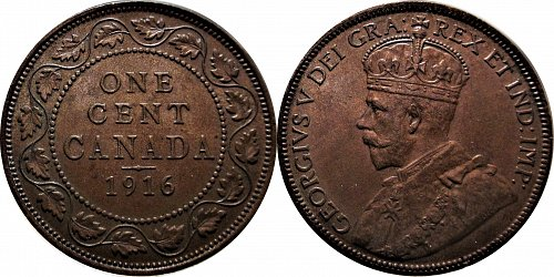 Canada 1916 1 Cent   (Large Cent)         0151