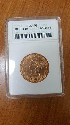 1882 $10 Liberty Head Gold Eagle Coin (Coronet Head)