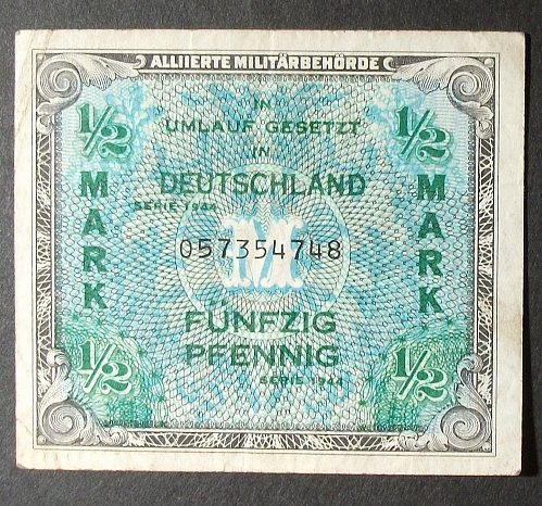 Germany P191a 1/2 Mark VF Allied Military Currency