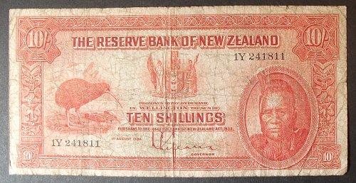 New Zealand P154 10 Shillings VG