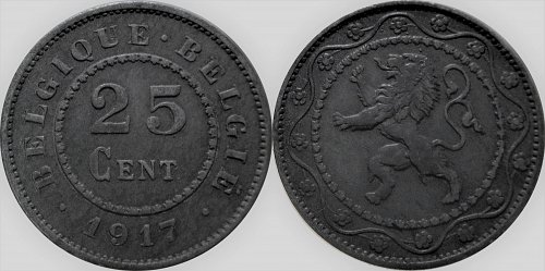Belgium 1917 25 Centimes (Dot before and after)        0157