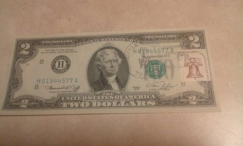 2 Dollars bill 1976 with stamp and postmark