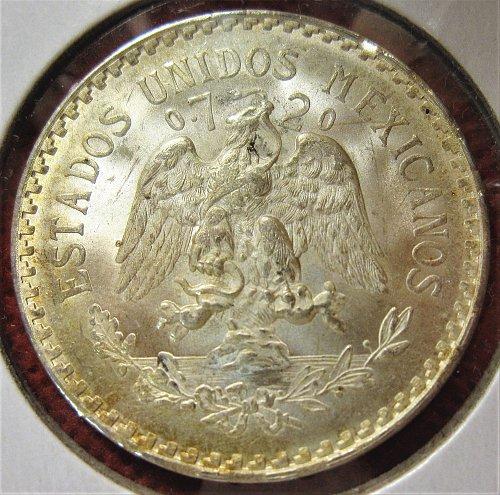1943-m MEXICO SILVER ONE PESO 0.720 SILVER-MS- TONED