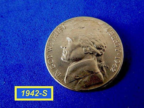 "1942-S Silver War-Time Nickel  ☆ ""AU-55"" ☆   (#6452)b"