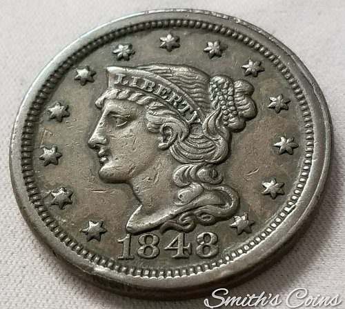 1848 Braided Hair Liberty Head Large Cent ~ XF