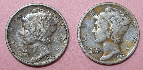 2 Mercury Dimes Lot McD4t