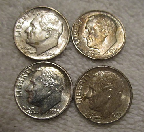 LOT OF 4 DIFFERENT ROOSEVELT DIMES