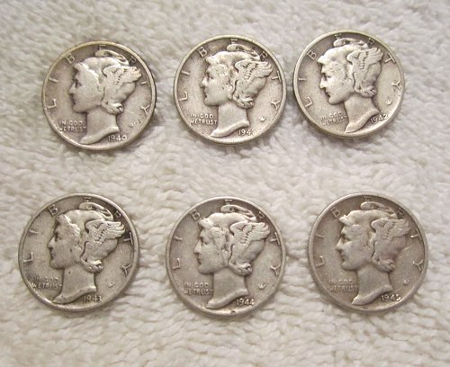 LOT OF 6 DIFFERENT MERCURY DIMES