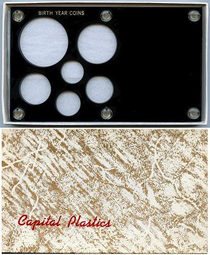 "Capital Plastics "" Birth Year Coins"" 6-Coin Holder, Large Dollar Black"